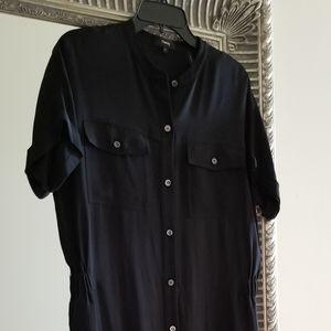 New Theory 100% Silk Jumpsuit Black Size 8 M